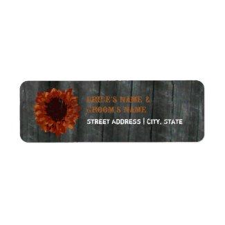 Wedding Address Label - Sunflower and Barnwood label