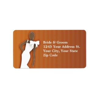 wedding address label with bride graphic