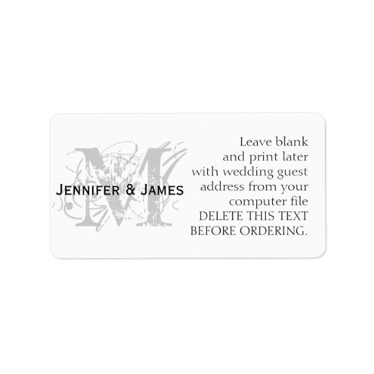 Wedding Address Labels Chic Monogram and  Names