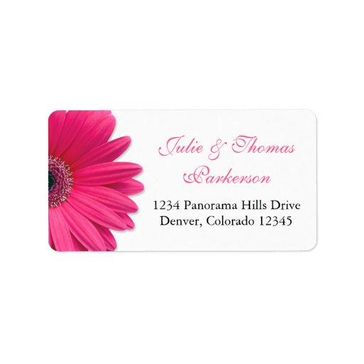 Wedding Address Labels | Pink Gerbera Daisy Black
