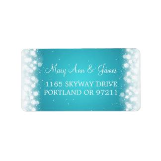 Wedding Address Love Magic Sparkle Turquoise Personalized Address Labels