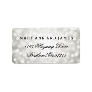 Wedding Address Silver Glitter Lights Address Label