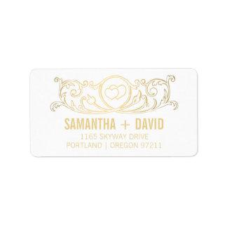 Wedding Address Vintage Heart Swirls Gold Label