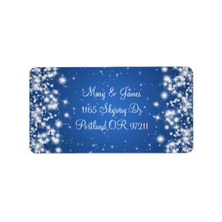 Wedding Address Winter Sparkle Royal Blue Label