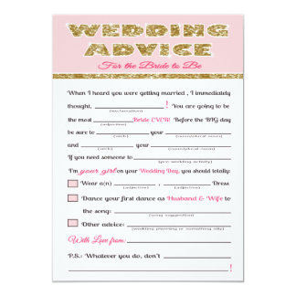 Wedding Advice Bridal shower game Card