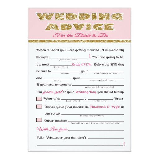 wedding advice bridal shower game card zazzle