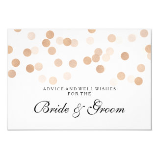 "Wedding Advice Card Copper Foil Glitter Lights 3.5"" X 5"" Invitation Card"