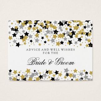 Wedding Advice Card Gold Glitter Stars Confetti