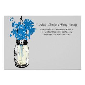 "Wedding Advice Card - Mason Jar 3.5"" X 5"" Invitation Card"
