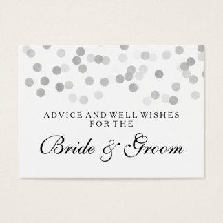 Wedding Advice Card Silver Foil Glitter Lights