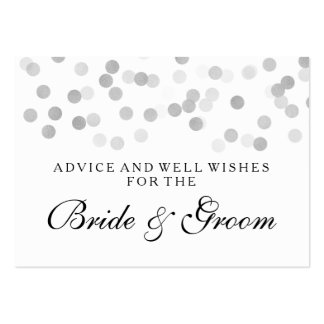 Wedding Advice Card Silver Foil Glitter Lights Large Business Cards (Pack Of 100)