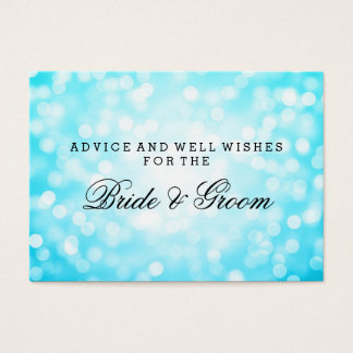 Wedding Advice Card Turquoise Glitter Lights