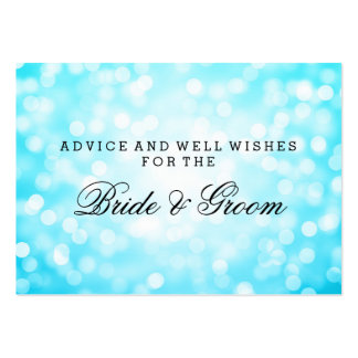 Wedding Advice Card Turquoise Glitter Lights Large Business Cards (Pack Of 100)