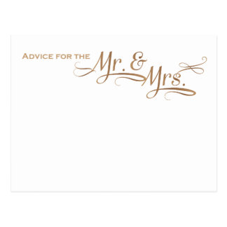 Wedding Advice for the Mr and Mrs gold font Postcard