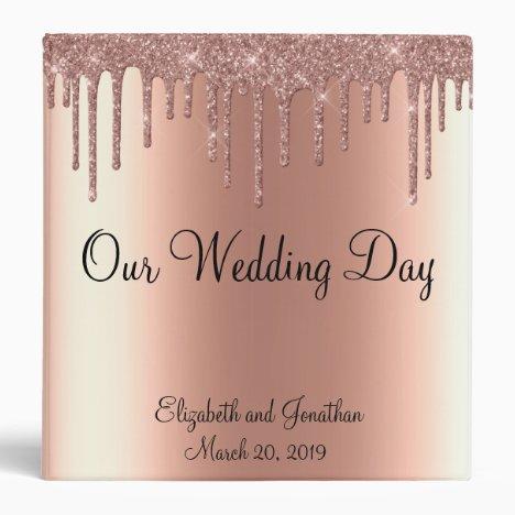 Wedding Album Rose Gold Sparkle Glitter Drips 3 Ring Binder