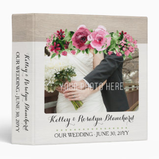 WEDDING ALBUM | Shabby Vintage Roses Rustic Wood 3 Ring Binder