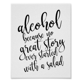 Wedding Alcohol Sign Blacka and White 8x10
