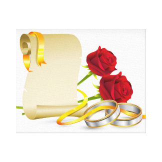 Wedding and engagement scroll with red roses,rings canvas print
