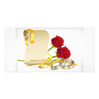 Wedding and engagement scroll with red roses,rings card