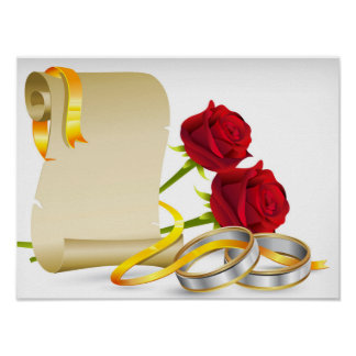 Wedding and engagement scroll with red roses,rings poster