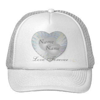 Wedding Angelic Wings Pearly Hearts Cap-Cust. Mesh Hats