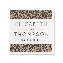 Wedding - Animal Print, Spotted Leopard - Brown Paper Napkin