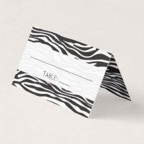 Wedding - Animal Print, Zebra Stripes - Black Place Card