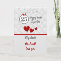 Wedding Anniversary 25th Silver 25 years Card