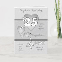 Wedding Anniversary 25th Silver hearts and flowers Card
