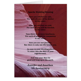 Wedding Anniversary Apache Blessing Feel No Rain Card