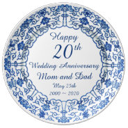 Wedding Anniversary Blue Asian Porcelain Plate at Zazzle