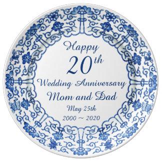 Wedding Anniversary Blue Asian Porcelain Plate