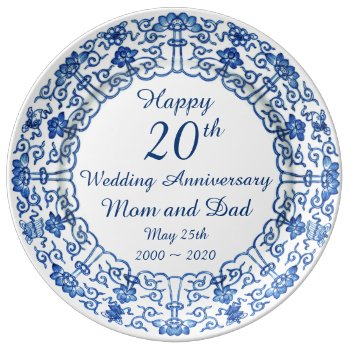 Wedding Anniversary Blue Asian Porcelain Plate by DigitalDreambuilder at Zazzle