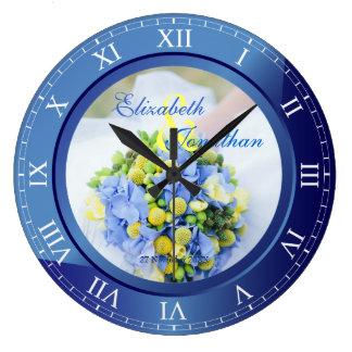Wedding Anniversary Blue Sapphire Roman Numerals Large Clock