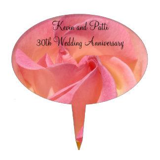Wedding Anniversary Cakepicks Pink Rose Flowers Cake Pick
