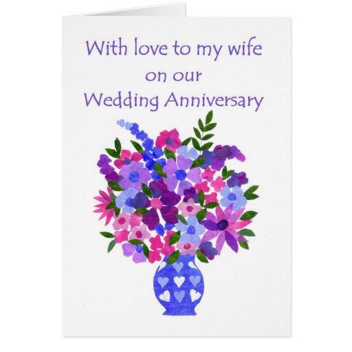 Wedding anniversary card for wife flower power zazzle