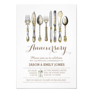 Wedding anniversary celebration dinner 5x7 paper invitation card