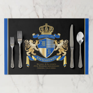 Wedding Anniversary Coat of Arms Blue Gold Lion Paper Placemat