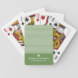 "Wedding Anniversary Custom Bride Groom Date Stripe Playing Cards<br><div class=""desc"">Grass Green with trendy white striped pattern - If your art still needs to be adjusted,  click on the Customize This button. This will take you to a design area where you can move things around and even change fonts or color.</div>"