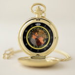 """Wedding Anniversary Diamond Ring Photo Frame Names Pocket Watch<br><div class=""""desc"""">This elegant custom pocket watch has a diamond wedding ring look. Easily add a photo of the married couple to the center,  along with text along the top and bottom. This is the perfect,  personalized stylish gift for the newlywed couple or for a wedding anniversary.</div>"""