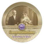 Wedding Anniversary Gold Amethyst Gemstone Damask Melamine Plate