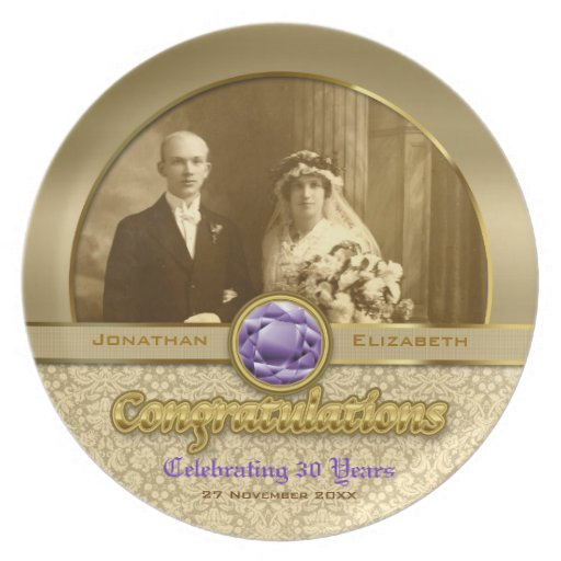 Wedding Anniversary Gold Amethyst Gemstone Damask Melamine Plate ...