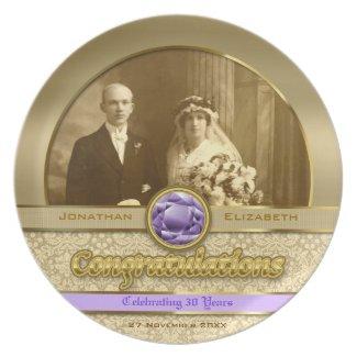 Wedding Anniversary Gold Amethyst Gemstone Damask Plate