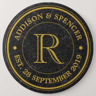 Wedding Anniversary Gold Monogram Black Leather Pinback Button