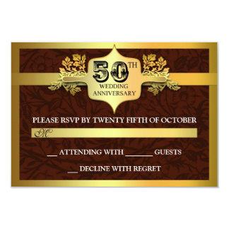 Wedding Anniversary golden RSVP cards