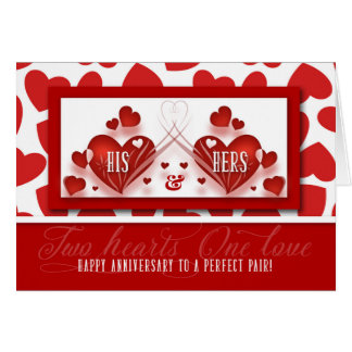 Wedding Anniversary His and Hers Red Hearts Card