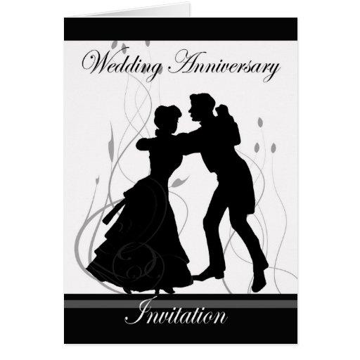 Wedding anniversary invitation black and white dan card