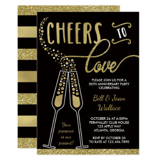 Wedding Anniversary Invitation, Faux Glitter Card
