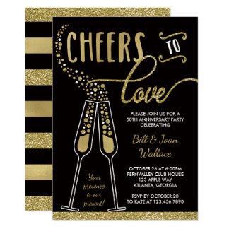 Wedding Anniversary Invitation, Faux Glitter Invitation