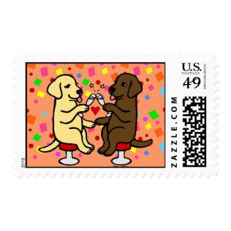 Wedding Anniversary Labradors Postage Stamps